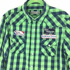 Paper Denim Cloth L Large Men's Big Game Fishing Embroidered Pearl Snap Shirt