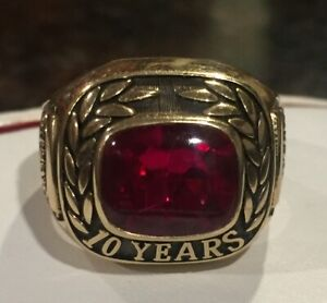 Tyson 10 Years 10K Red Stone Yellow Gold Ring Size 10.75 With mtm Mark