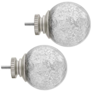 Home Decorators Collection - Mercury Glass Sphere Finials - Brushed Nickel - New