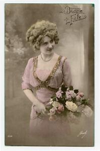 1910s Glamour Glamor WOMAN BEAUTY Lovely Lady Fashion photo postcard