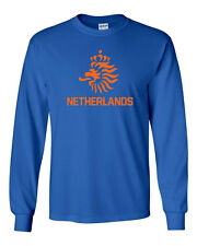 438 Netherlands Long Sleeve shirt lion amsterdam futbol rugby vintage retro new