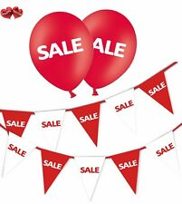 SALE Bundle of Red & White Bunting Banner and 25 Printed Red Latex Balloons