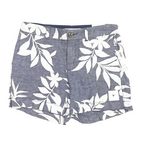 """Old Navy Size 4 Everyday Shorts Womens 5"""" Inseam Length Blue Floral Linen New"""