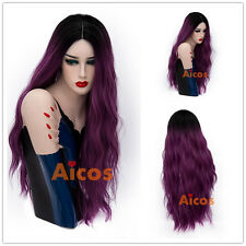 Dark Root Long LolitaCurly Women Wigs Purple Ombre Hair Costume Cosplay Wig+Cap
