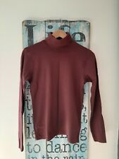 Ladies Burgundy Polo Necked Jumper Skinny Fit Size S