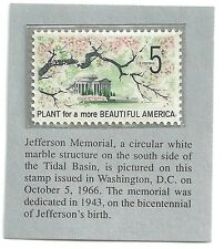 "Vintage 5 cent stamp: Jefferson Memorial: ""Plant More..."" (Oct 5, 1966, Wash DC)"