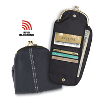 """Black Vintage Style Coin Purse With Rfid Wallet Women's 5"""" X 10"""" Opened NEW"""