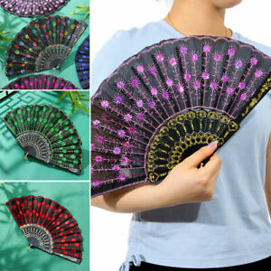 NEW Ladies Hand Fan Folding Lace Silk Fans Peacock Feather Printed Chinese Style