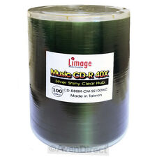 100 Limage 40X Silver Shiny Music Digital Audio CD-R [FREE USPS Priority Mail]