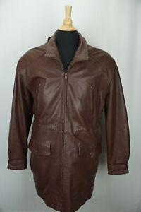 Orvis Brown Leather 3/4 Length 6 front pocket Mens Coat Sz M