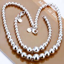 925Sterling Silver Small Big Buddha Beads Men Women Necklace Bracelet Set SP080