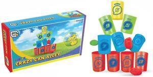 Crazy Tin Can Alley Fairground Target Throwing Skill Garden Game Toy School Fete