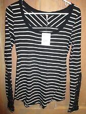 NEW✿ Free People XS SHIRT TOP Tee Tunic $78 RV Lace Cuffs Black Stripes