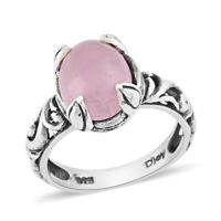 925 Sterling Silver Pink Jade Solitaire Ring Jewelry For Women Size 5 Ct 2.9