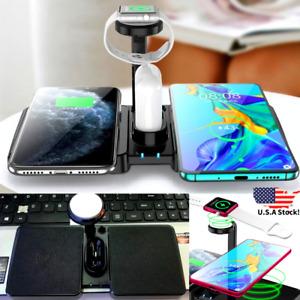 Cargador Inalambrico Para Iphone 12 11 XR XS X Pro Max Watch Audifonos 4 en 1