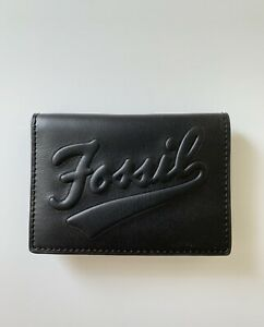 NWT Fossil Men's Morgan Card Case Bifold Wallet Black Leather
