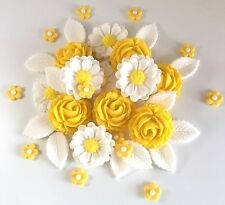 Yellow/White Roses Bouquet Edible Sugar Flowers Easter Cake Decorations Toppers