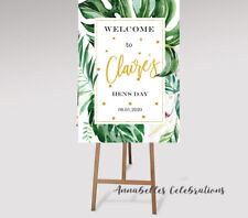 Printable Personalised Welcome Sign Hens Bridal Party Green Tropical Leaves