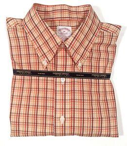 Brooks Brothers Orange Plaid Long-Sleeve Supima Cotton Button Shirt Size M NWT