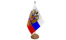 Rusia (Escudo) Águila Mesa Bandera con madera soporte