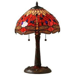 Red Dragonfly Table Lamp w/ Pull Chain Traditional Handcrafted Night Light 22''