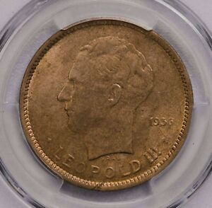 PCGS-MS63 1936 BELGIAN CONGO 5FRANCS MUCH LUSTER