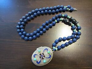 Rare Antique Chinese Silver Oval Locket/Pendant Lapis Onyx Turquoise Necklace