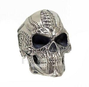 Biomechanics HR Giger 925 Silver Skull Head Biker Rider Oxidized Ring size 12