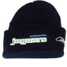 50ba15bd09faa JACKSONVILLE JAGUARS KNIT BEANIE HAT SKI CAP CUFFED NFL ADULT BASIC BLACK  NWT