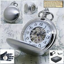 Mechanical Pocket Watch Silver Case Skeleton Men with Chain and Gift Box 43