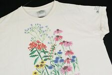 Vintage 90s Organic By Nature Floral Flowers T Shirt Cleveland Botanical Garden
