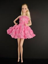 Pink Mini Dress Covered in Roses For Barbie Doll