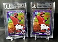 (2) Victor Robles 2017 Bowman Chrome Purple Shimmer Refractor Rookie RC BGS 9