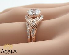 14K Solid Rose Gold Diamond Ring,Diamond Bridal Sets Ring,Leaf Ring,Wedding Ring