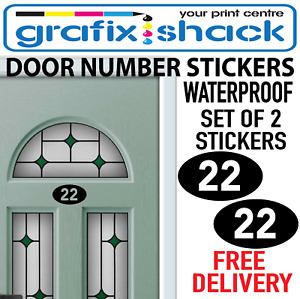 2 DOOR NUMBER STICKERS OVAL SHAPE SET OF 2 FOR HOUSE DOOR BINS GARAGE NUMBERS