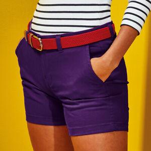 Asquith & Fox WOMEN'S Classic Fit Chino Cotton Summer Shorts SIZES: XXS - 2XL