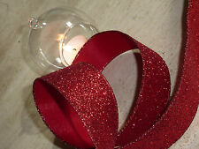 Christmas Red Glitter Wired Ribbon Cake Decorations Wreaths 1m
