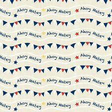 Fabric Nautical Ahoy Matey Stripe on Cream Cotton by the 1/4 yard