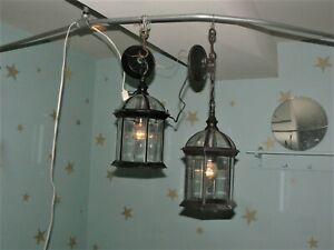 (2) Hanging Black, Glass Lights