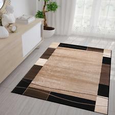 Angesagter Teppich Retro Muster für Wohnzimmer Schlafzimmer Meliert in Braun NEU