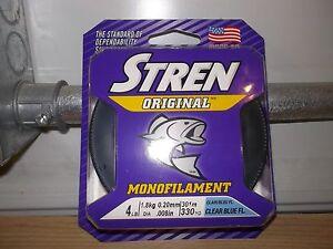Stren Original fishing line 4 lb test 330 yards clear blue fluorescent New clam