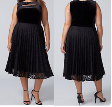 NWT Lane Bryant Dress 20 2x Cut out Key Hole Velvet Lace Pleated Cocktail Party
