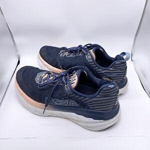 Hoka One One Womens Bondi 6 Mood Indigo/Dusty Pink Running Shoes Size 9.5 Flawed