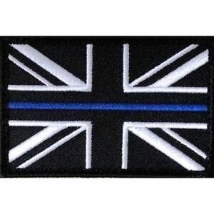 Thin Blue Line Police Small Union Jack Hook Fastener Badge Patch 70mm x 38mm