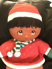 Rare Dolly Mine Christmas Holiday Soft Doll Plush Vintage Dark Skin Girl 1987