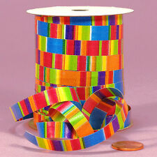 "250YDS Spool of 3/8"" Bright Colors Rainbow ""BLOCKS & STRIPES"" Curling Ribbon"