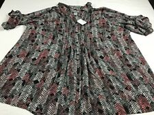 NWT Catherines 3X 26/28 Colorful Button Front Pin Tuck Blouse Shirt Top