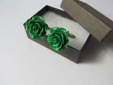 Handmade Stylish Gorgeous Green Flower Mens Cufflinks Gift Box Husband Dad Son