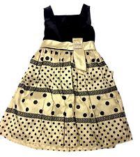 Girls Dress Children's Place Holiday Ivory Bisque Black Velvet Polka Dot Sz 6X-7