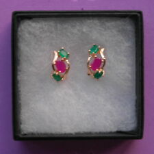 BEAUTIFUL NATURAL RUBYAND  SAPPHIRE 9K GOLD FILLED EARRINGIN IN GIFT BOX